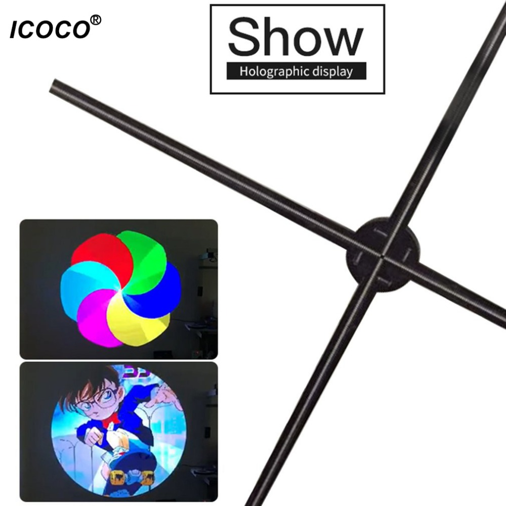 ICOCO 1M LED 3D Holographic Projector Portable Hologram Player 3D Holographic Display Fan Player Hologram Projector 3d projector 1024 768 native resolution 3600ansi lumens short focus projector 1m distance have 80inch screen 3d glass free gift