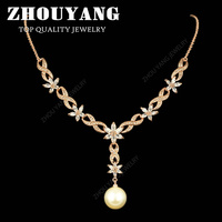 ZHOUYANG ZYN543 Imitation Pearl Crystal Flower Wedding Rose Gold Color with Top Grade Marquise-cut CZ Bridal Necklace