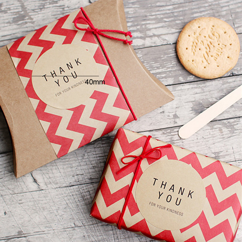 Купить с кэшбэком 120pcs/lot Square Circle Shape Thank you Handmade Adhesive Packaging Sealing Label Sticker DIY christmas Gift Stickers