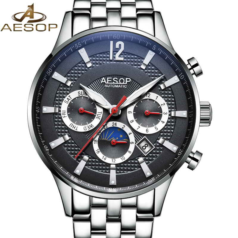 AESOP Men Watch Automatic Mechanical Business Stainless Steel Black Male Clock Famous Brand Waterproof Relogio Masculino 2018 27 fashion top brand watch men automatic mechanical wristwatch stainless steel waterproof luminous male clock relogio masculino 46