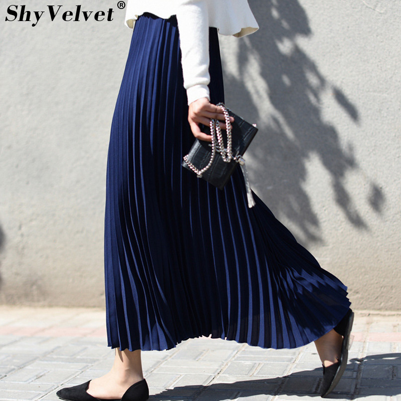 Elastic Waist Long Pleated Skirt Women Ankle-length Tutu Maxi Chiffon Skirt Solid Color Ladies Elegant Faldas Yellow Red Green
