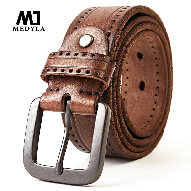 Top Layer Leather Cowhide Belt Fashion Technology Men Belt Imported Alloy Buckle Strap Wide Cinto Masculino