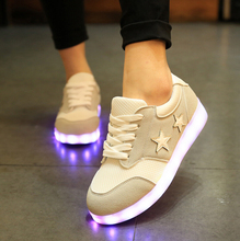 2017Colorful glowing shoe Led Shoes Glowing 7 Colors LED Men female Fashion Luminous USB charging Led Light UP Shoes for Adults
