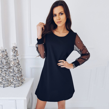 New Arrival Summer Women Fashion Casual Mini Dress Black Red Spring Mesh Sleeve Beaded Retro Party Dresses Plus Size