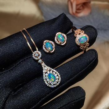 Natural Opal jewelry set Natural Real Opal 925 sterling silver 1pc pendant,1pc ring ,2pcs Earring