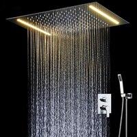 Bathroom Fixture Led Shower Set Ceiling Big Rian Showerhead Hot and Cold Mixng Valve Light Shower