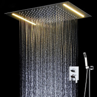 Bathroom Fixture Led Shower Set Ceiling Big Rian Showerhead Hot and Cold Mixng Valve Light Shower