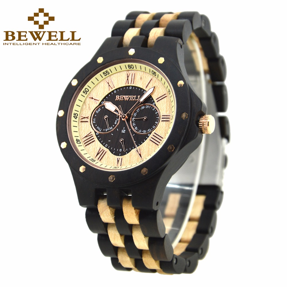 BEWELL Mens Wood Watch Top Brand Luxury Six Hands Calendar Wrist Watches with Luminous Hands Gift Box 116C