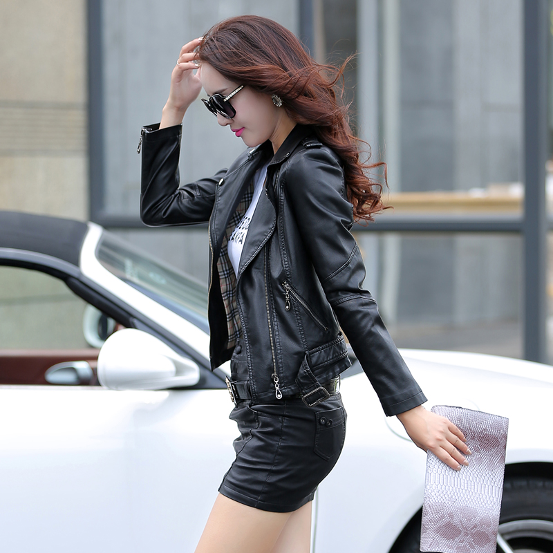 2018 leather Jacket womens sheepskin wear design short slim motorcycle leather clothing  ...