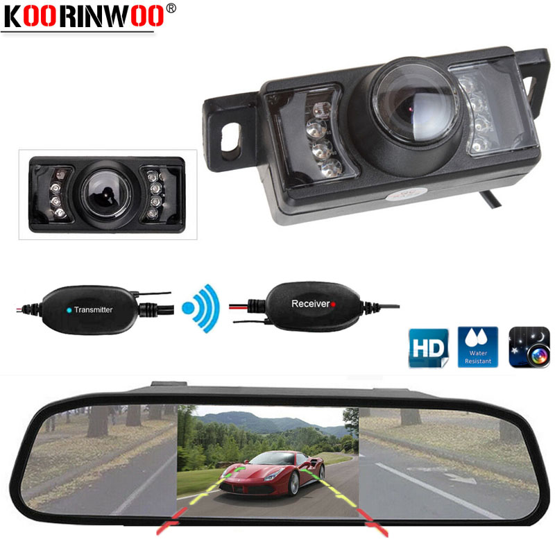 Koorinwoo HD 4.3 Inch Car Rearview Mirror Monitor CCD Video Parking System Assistance Car Rear View Camera Night Vision Sensors