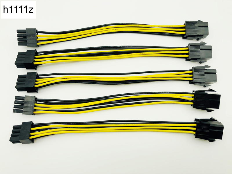 5pcs 6 Pin Feamle to 8 Pin Male PCI Express Power Converter Cable CPU Video Graphics Card 6Pin to 8Pin PCIE Power Cable for BTC dhl pci e pcie gpu 6 pin 2 3pin female to dual pci e video card 6pin male power adapter cable 20cm 18awg for graphics card