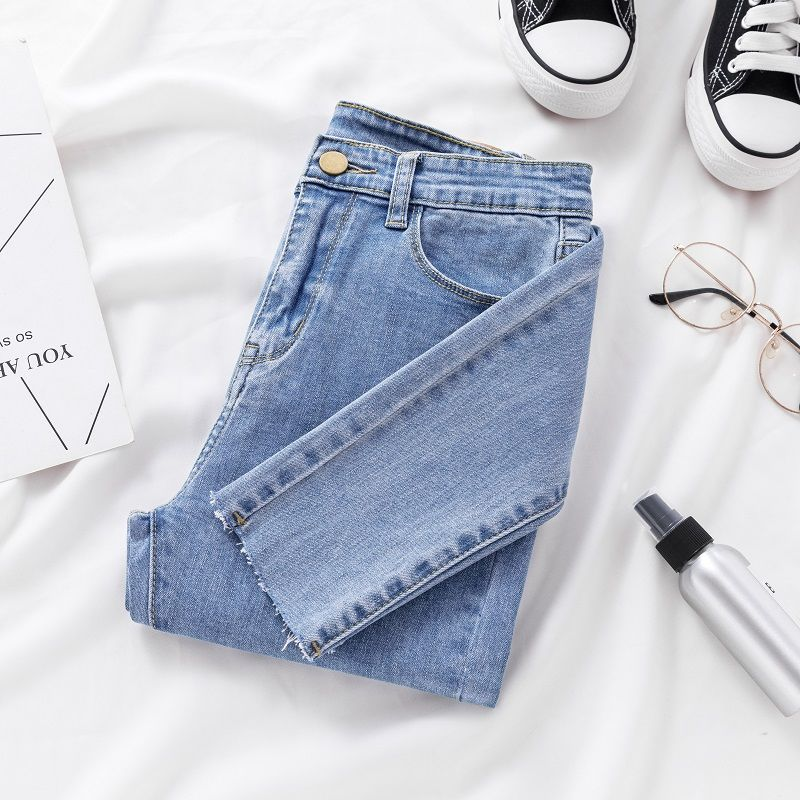 Skinny Jeans For Women Female Denim Pencil Pants Mid Waist Black Color Stretch Elastic Blue Pencil Jeans Plus Size
