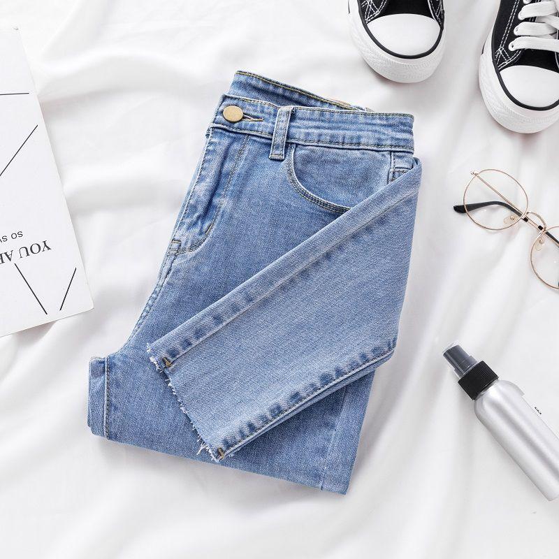 Skinny Jeans For Women Female Denim Pencil Pants Mid Waist Black Color Stretch Elastic Blue Pencil Jeans Plus Size