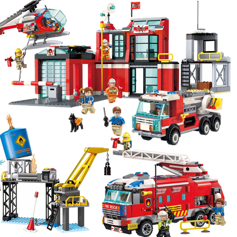 NEW City Police Fire Station Truck Spray Water Gun Firemen Car Building Blocks Sets Bricks Model Kids Toys Compatible Legoings kартридж hp 508x high yield magenta cf363x
