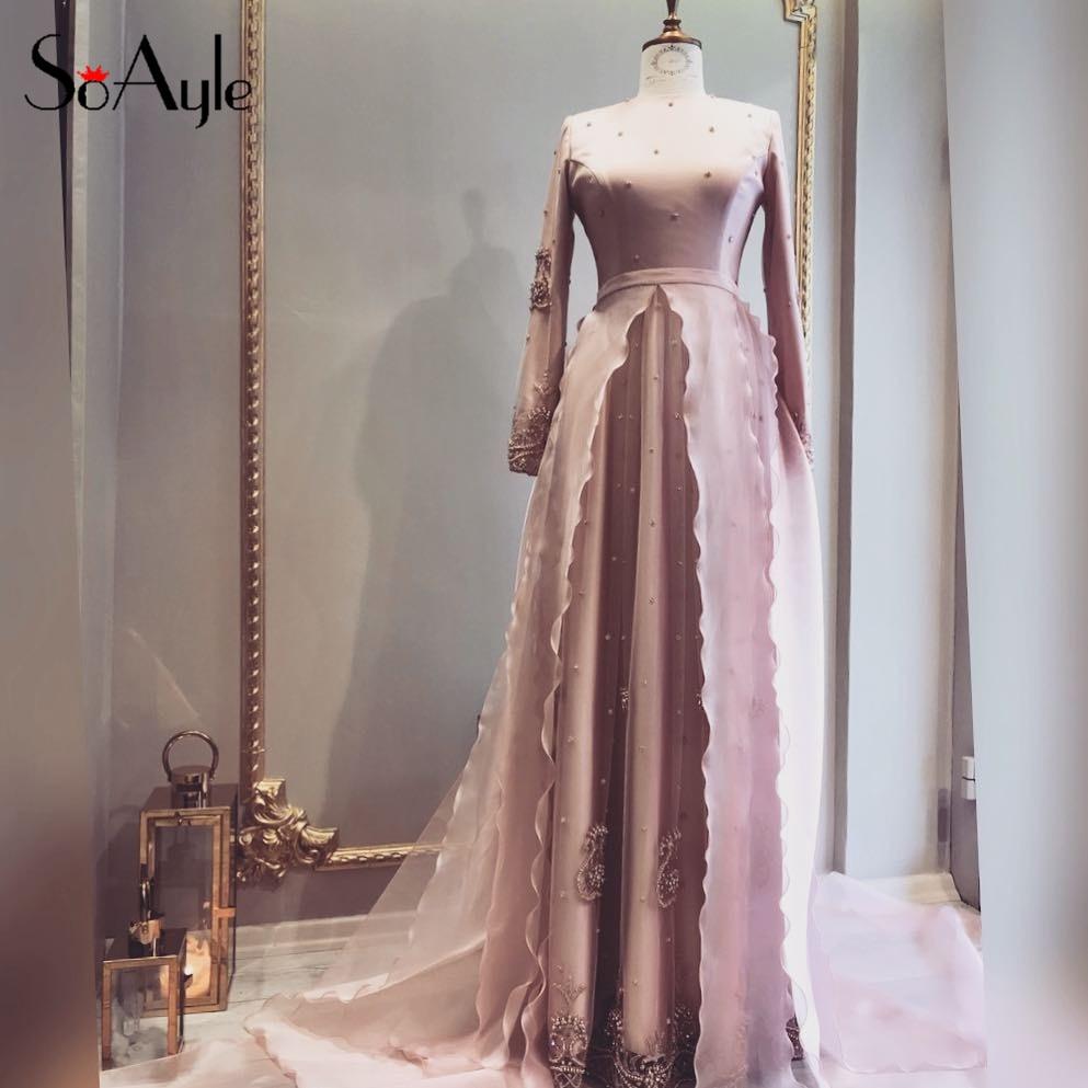SoAyle Evening Dresses 2018 A Line Plus Size Mother of Bride Long Sleeve  Muslim Dubai Ruffles Beading Pear Wedding Guest Dresses-in Evening Dresses  from ... 9034ceb210ec