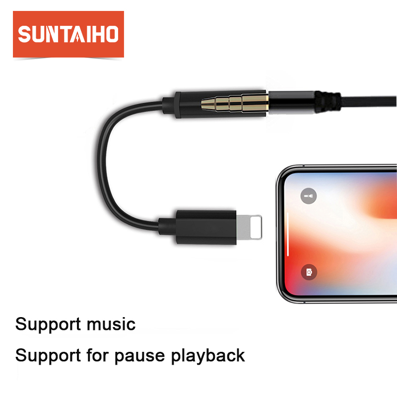 Suntaiho for Lighting adapter for iPhone 7 Headphone Adapter otg Jack 3.5mm Audio Cable for iPhone 8 Plus X Earphone Adapter
