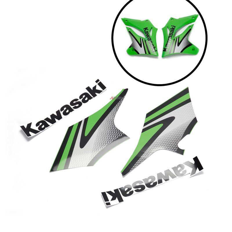 4pcs Left Right Green Black Front Side Sticker for Kawasaki KLX250 2004-2007 galfer rotor front left right black for ducati bikes product code df880cw