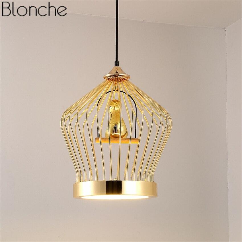 Современные золотая птица люстра, подвесные светильники Led подвесной светильник Кухня светильники освещения домашнего декора для Обеденна