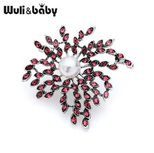 Wuli&baby Vintage Pink Firework Flower Brooches Women Mens Banquet Party Brooch Pins Gifts