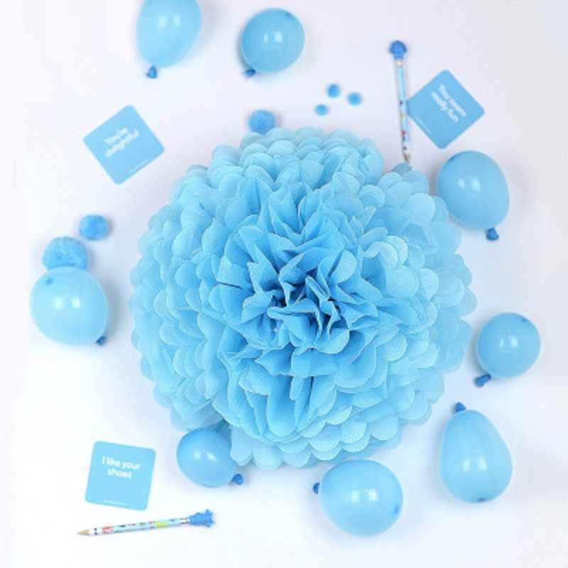 OUDIROSE 5 piezas 3,6 decoración de boda de 8,10 pulgadas bola de papel de terciopelo pompones DIY flor Artificial fiesta de cumpleaños decoración de Navidad