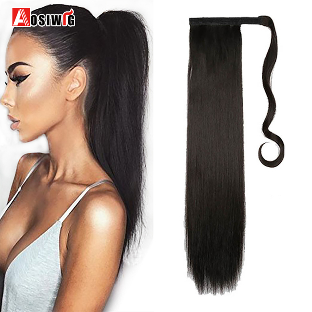 24long Straight Ponytail Clip In Pony Tail Synthetic Hair