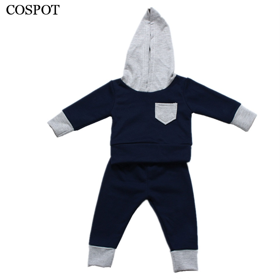 COSPOT Baby Boys Autumn Clothing Set Boys Plain Blue Outerwear Kids Long Sleeve Hooded Sweater+Pants Cotton Suit 2018 New 15C 2017 new boys clothing set camouflage 3 9t boy sports suits kids clothes suit cotton boys tracksuit teenage costume long sleeve