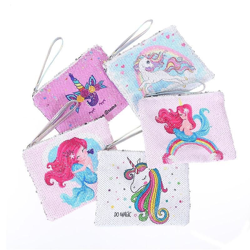 new cartoon small handbag for women fashion sequins day clutches purse girls unicorn envelope bag makeup pouch