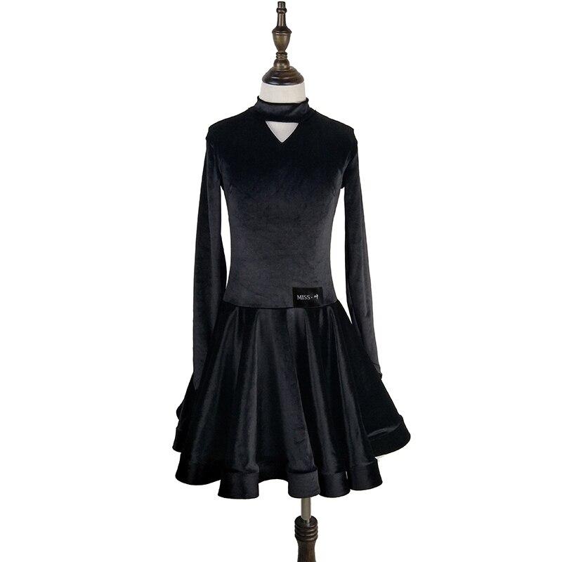 Robe de danse latine Standard pour filles velours à manches longues robes de danse de salle de bal pour enfants compétition Performance porter DN1335