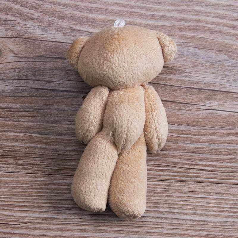 2019 śliczne miękkie pluszowe wypełnione Mini brązowa wstążka Teddy zabawki-niedźwiadki dla dzieci zabawki lalki na bukiet 12cm DIY prezent dla przyjaciółki