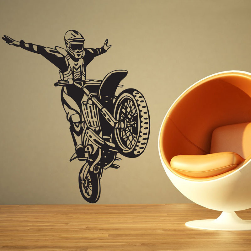 Zooyoo Dirt Bike Motorcycle Wall Sticker Motocross Stunt Wall Decals