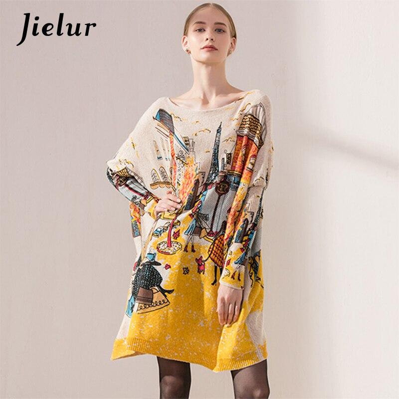 Casual Rue De Mode de Femmes D'hiver Chandails Longue Chauve-Souris Manches Magnifique Dames Pull de Bande Dessinée Imprimé Surdimensionné Chandail