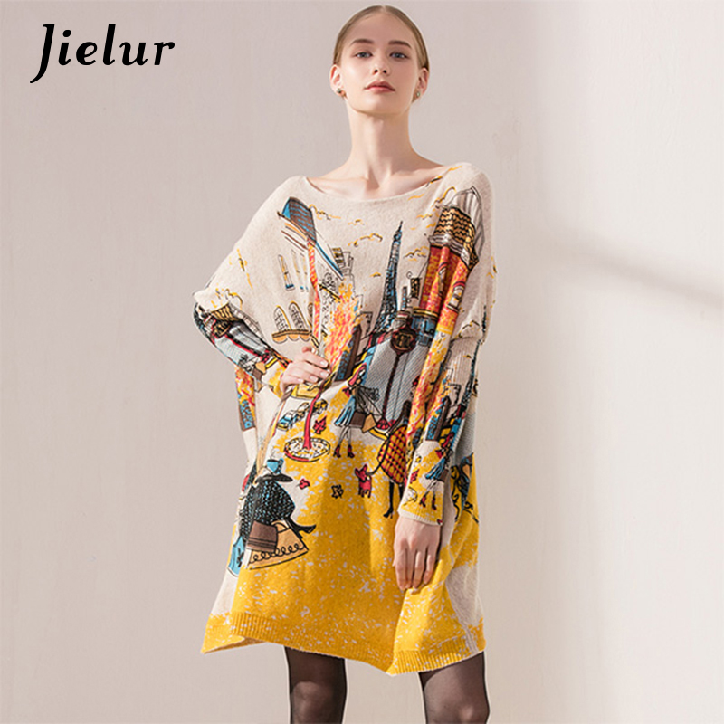 Casual Street Fashion Dames Wintertruien Lange Batwing Mouwen Prachtige Dames Pullover Cartoon Printed Oversized Sweater