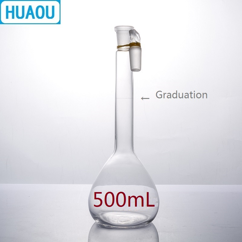 HUAOU 500mL Volumetric Flask Class A Neutral Glass With One Graduation Mark And Glass Stopper Laboratory Chemistry Equipment