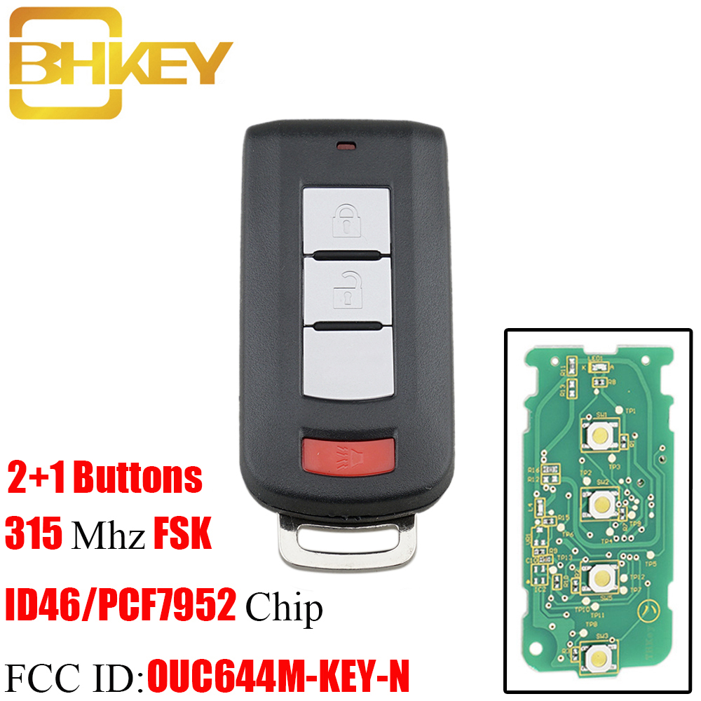 BHKEY 2 1Buttons 315Mhz Remote Car key For Mitsubishi Lancer Outlander Galant Transponder PCF7952 Chip OUC644M