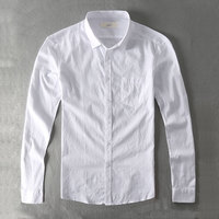 Zecmos Casual Shirt Men Cotton White Shirt Male Plain Solid Slim Fit Long Sleeves