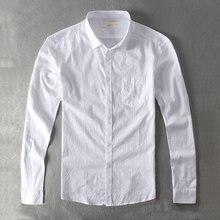 Zecmos Casual Shirt Men Cotton White Shirt Male Plain Solid Slim Fit Long Sleeves