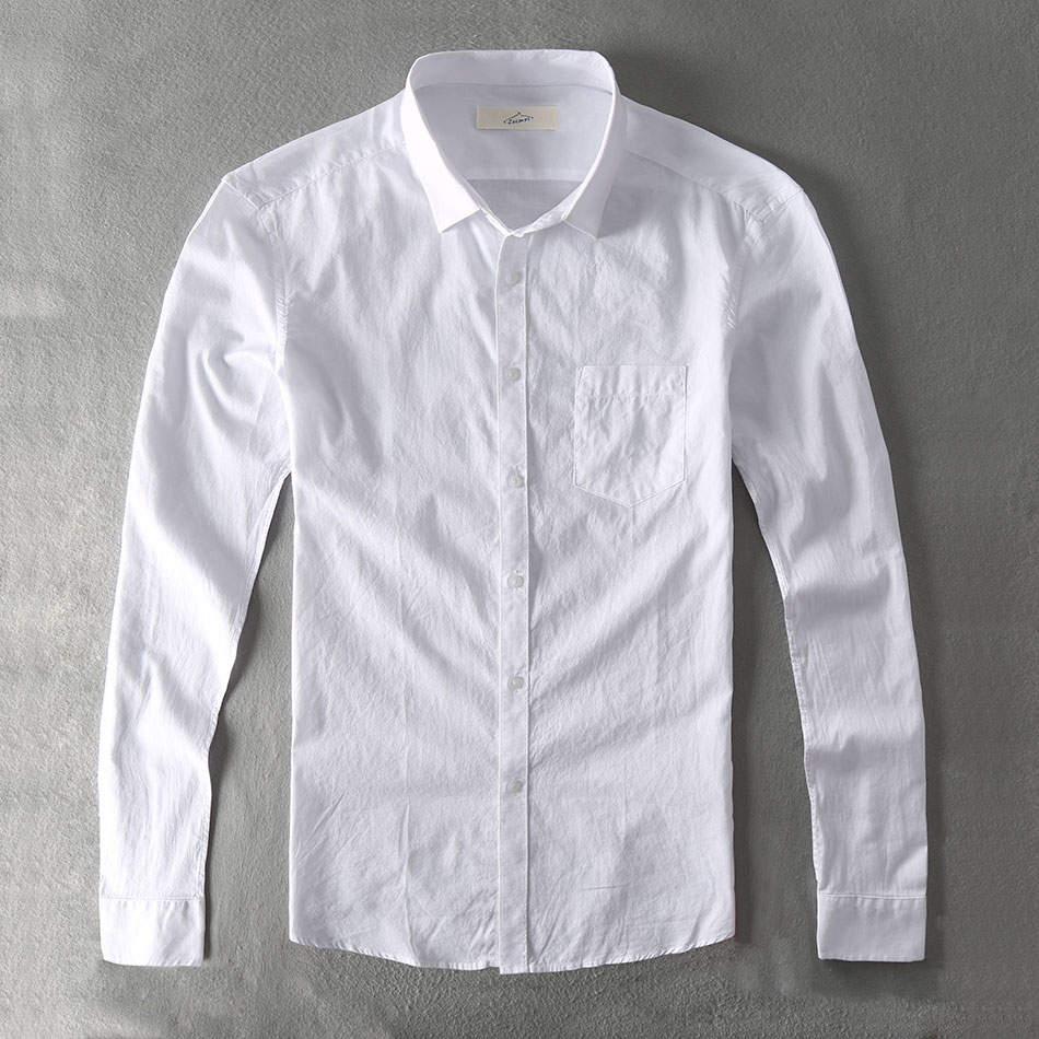 Zecmos Повседневная рубашка Для мужчин хлопок белая рубашка мужской простые  твердые Slim Fit Одежда с длинным 1730f8b3ab4