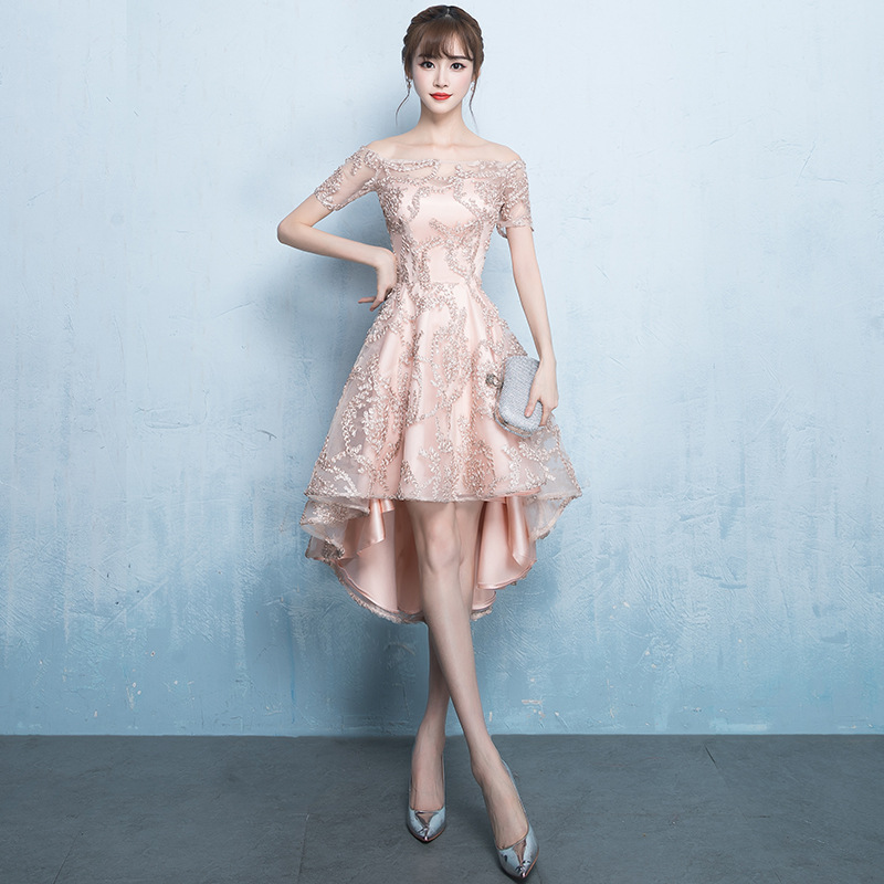 Boat Neck High Low Wedding Party Dress Bride Guest
