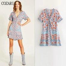 COZARII 2019 summer dress women vestidos casual style print V-Neck short sleeve de fiesta noche mini