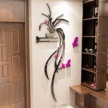 Орхидея 3d Хрустальная настенная наклейка акриловый ТВ фон украшение