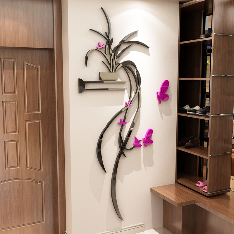 Orchidee 3D kristall Wand Aufkleber Acryl TV hintergrund Eingang ...
