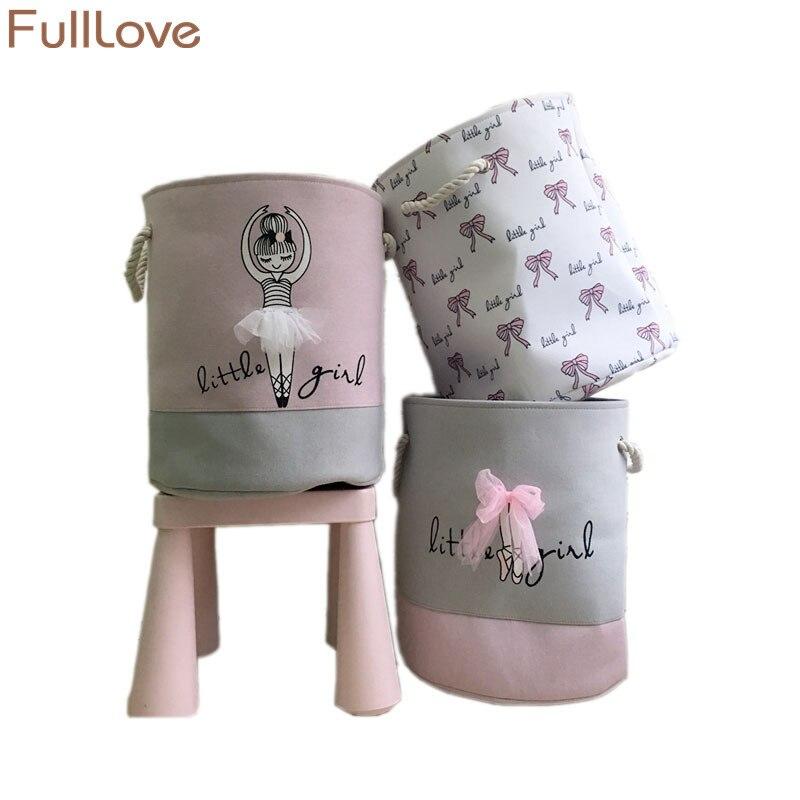 Fulllove 35*40 cm Rosa cesta de lavandería para ropa sucia algodón Ballet chica arco impresión Juguetes organizador Almacenamiento y organización