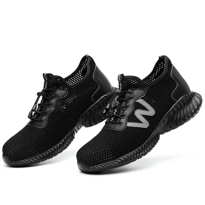 軽量通気性の男性の安全靴鋼つま先作業靴男性のアンチスマッシング建設スニーカー