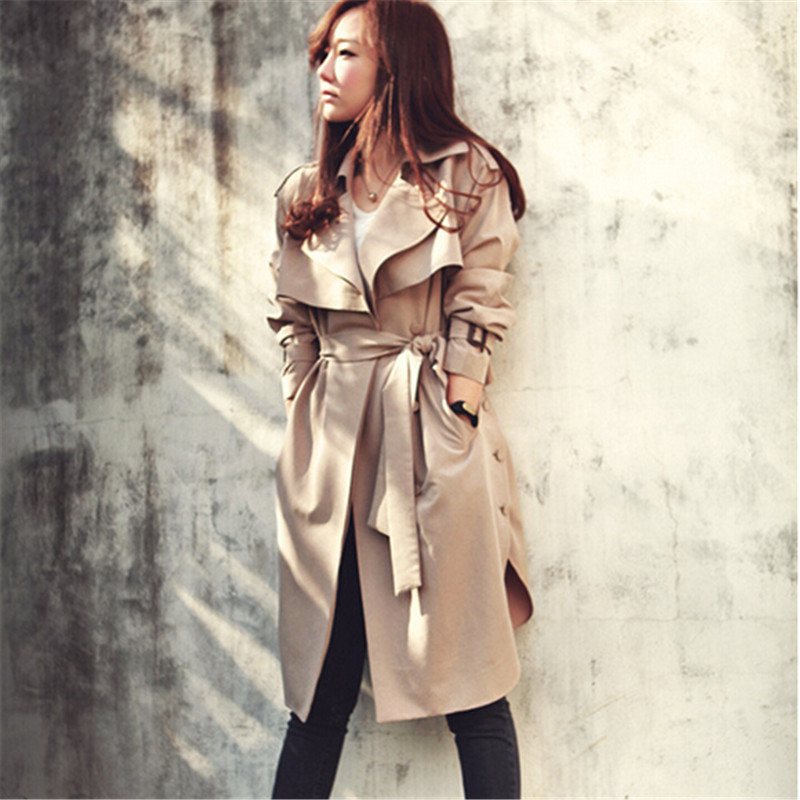 Spring Autumn Women   Trench   Coat Casual Long Outerwear Loose Clothes For Lady With Belt High Quality S-XXXL