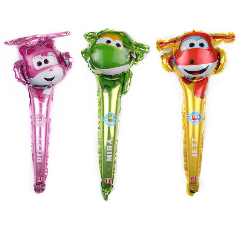 1pc Babyshower Super Wings Balloons Stick Birthday Party Decorations Kids Gender Reveal Foil Globos Kid's Party Gift Supplies