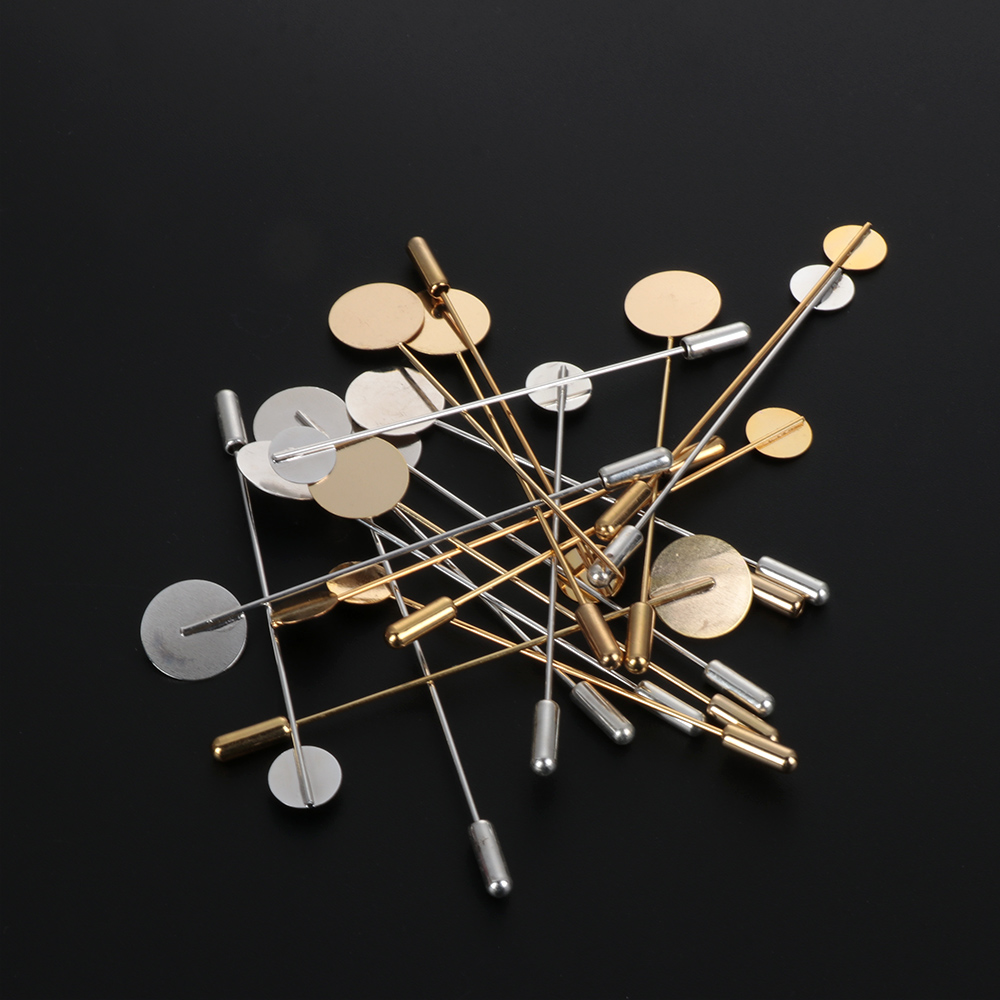 1/10Pcs Gold Silver Color Plated Simulated Pearl Alloy Copper Long Brooch Pin DIY Lapel Dress Jewelry Making Brooches Base Tray