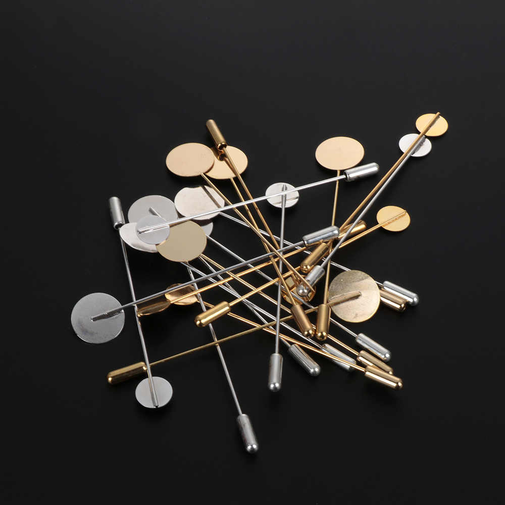 10 pc/set ouro prata cor chapeado simulado pérola liga de cobre longo broche pino diy lapela vestido jóias fazendo broches base bandeja