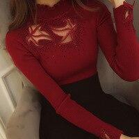 2018 Spring Autumn Women Elegant Cute Long Sleeve Shirts Fashion Lace Blouse Elasticity Casual Tops Plus