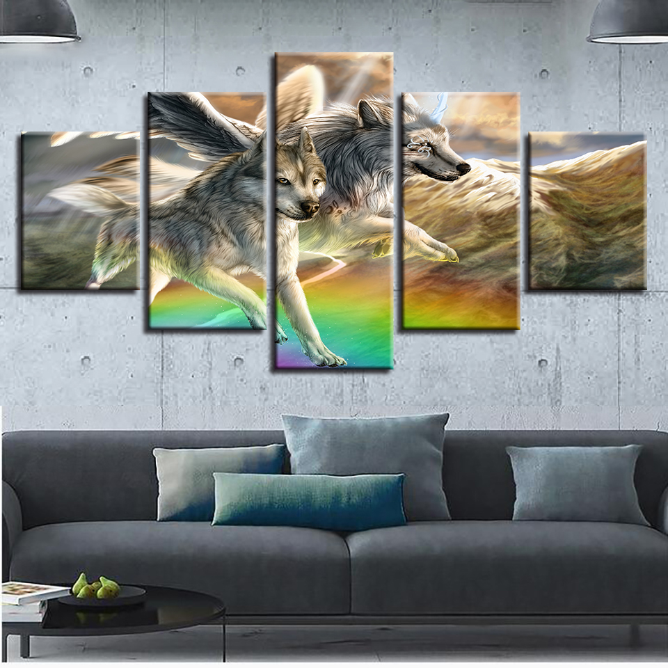 Animal Canvas Pictures HD Printing Decor Room Wall 5 Pieces Wolf Couple Running Landscape Paintings Poster Modular Framework Art in Painting Calligraphy from Home Garden