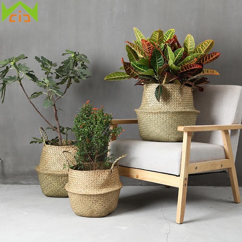 עבודת יד ראטאן פרח צמח סל מתקפל סיגראס - מוצרים גן